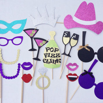 Bachelorette Party Glitter Photo Booth Props ; Bachelorette Party Decorations