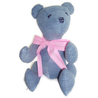 Denim Teddy Bear made from upcycled jeans - Blue Bear Number 4