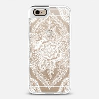 Lacy Leaves & Little Birds in White on Transparent iPhone 6 case by Micklyn Le Feuvre | Casetify