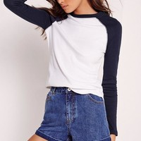 Missguided - Rib Raglan Top White With Navy Sleeve
