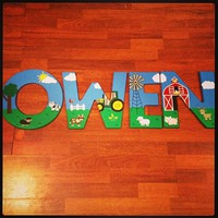 FARM JOHN DEERE INSPIRED HAND PAINTED WOOD WALL LETTERS