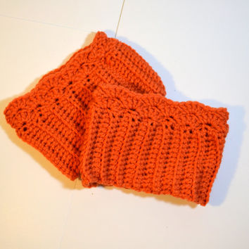 Pumpkin Orange Boot Cuffs, Crochet boot cuffs, knit ribbed boot sock, leg warmer, boot topper, ready to ship