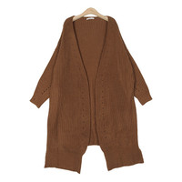 Unbalanced Hem Loose-Fit Long Cardigan