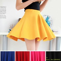Free shipping 2016 New Fashion Women's Skater Girl's Candy Elastic High Waist Skater Mini Skirt 11 Colors High quality