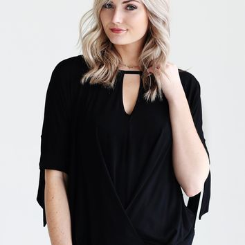 Black DLMN Keyhole Twist And Tie Top