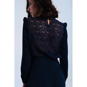 Navy shirt with lace and ruffle