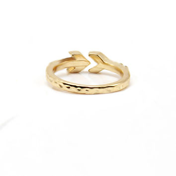 Trendy Gold plated 16mm phalanges rings zinc alloy ring with clear rhinestone women gilrs Hammered arrow rings