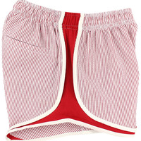 Shorties Shorts in Red Seersucker by Lauren James