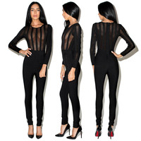Black Vertical Mesh Paneled Jumpsuit