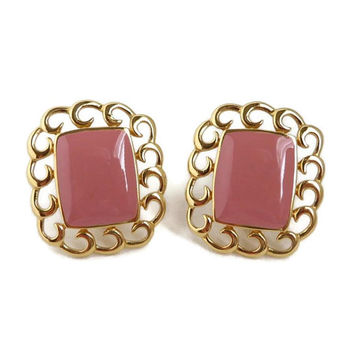 Monet Pink Gold Tone Earrings, Vintage 1970s Dusty Rose Clip-on Earrings
