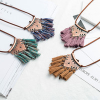 Women Boho Ethnic Tassel Choker Pendant Necklace Long Leather Rope Chain Vintage Necklace For Women Wedding Party Jewelry-in Pendant Necklaces from Jewelry & Accessories on Aliexpress.com | Alibaba Group