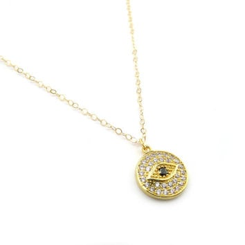 Dainty Evil Eye Necklace, Pave Evil Eye Charm, Minimal Evil Eye Jewelry, Sparkly Evil Eye, Crystal Evil Eye, Gold Evil Eye