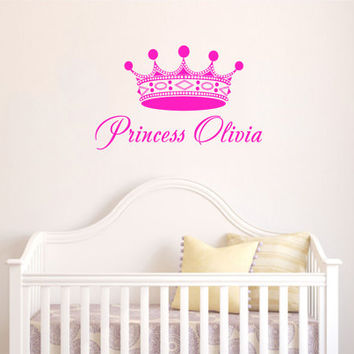 Childrens Decor Nursery Girls Wall Decals Vinyl Art Personalized Name Princess Crown Custom Decal Unique Design for Any Room V466