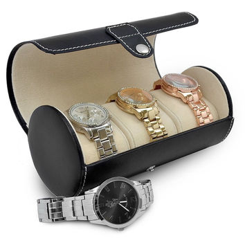 Sorbus Leatherette Roll-Style Travel Watch Organizer - Storage Case Holds up ...