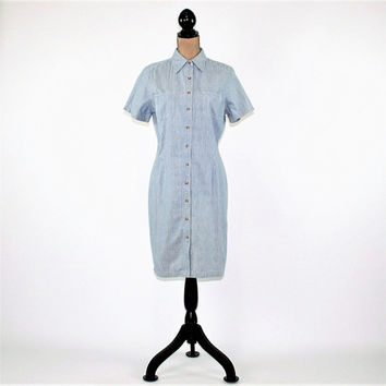 Cotton Dress Women Medium Button Up Dress Casual Short Sleeve Blue Pinstripe Dress Midi Dress Eddie Bauer Vintage Clothing Womens Clothing