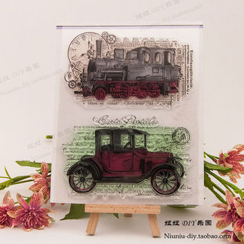 NCraft Clear Stamps N5163 Scrapbook Paper Craft Clear stamp scrapbooking Train Vintage car jalopy