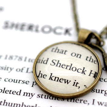 Sherlock Holmes 'Sherlock' Book Page Necklace with Pipe Charm