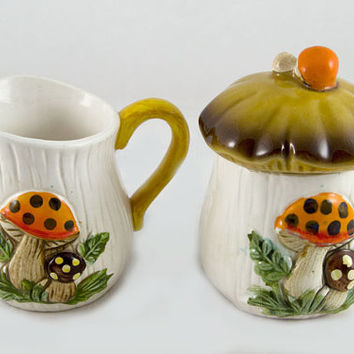 Merry Mushroom Sugar Creamer Set - Vintage Sears Roebuck Kitchen Decor