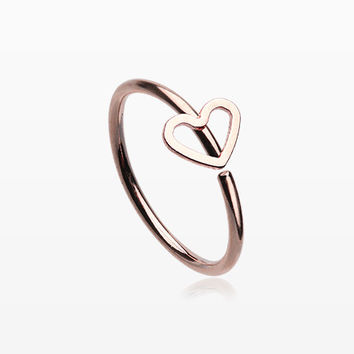 Rose Gold Heart Loop Bendable Nose Hoop