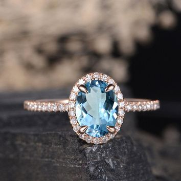 Natural Blue topaz Engagement Ring Oval Cut Halo Diamond Bridal Wedding Promise Women