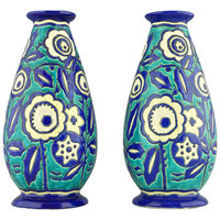Pair of Art Deco Vases by Boch Freres Keramis, Belgium 1929