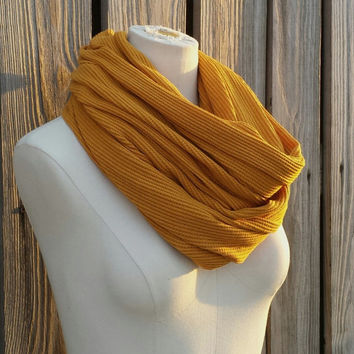 Mustard Infinity Scarf - Gold Mustard Eternity Scarf - Thermal Knit - Snood Hood - Chunky Gold Loop Scarf