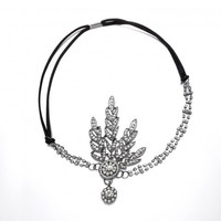 Women Leave Rhinestone Faux Pearl Head Chain Elastic Headband Headpiece