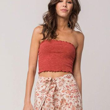 SKY AND SPARROW Ribbed Womens Tube Top