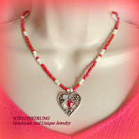 Heart necklace ,Gift for her, Crystal necklace, Heart necklace, Beaded necklace, Woman's Jewelry,