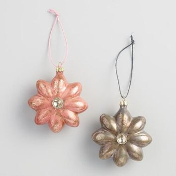 Pink and Silver Glass Gem Flower Ornaments Set of 2