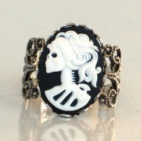 Steampunk Style Cameo Ring SKELETON LADY