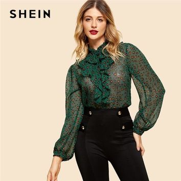 SHEIN Green Button Up Leopard Print Shirt New Stand Collar Weekend Casual Women Vintage Ruffle Modern Lady Blouses