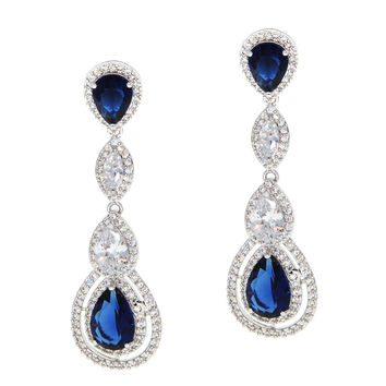 Dear Deer White Gold Plated Classic 4 White & Blue Sapphire Pear-Shaped Drop Pierced CZ Long Earrings