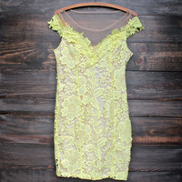 yellow floral lace appliqué bodycon dress