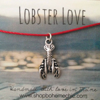 Silver Lobster Charm Necklace