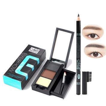 Eye Cosmetic Combination 3color Eyebrow Powder Box and 1pcs Eyebrow Pencil with Eyebrow Comb Sweat Is Not Blooming