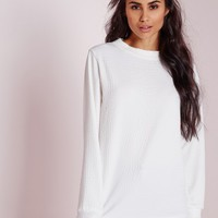 Missguided - Texture Longline Sweater White