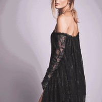 Women Off The Shoulder Mesh Dress Lace Black Sweet Vintage Long Batwing Sleeve Ladies Spring Casual Retro Vestidos