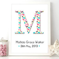 Personalized / Customized colorful butterffly letter birth details print yourself nursery art unique custom cute baby shower gift DIY decor