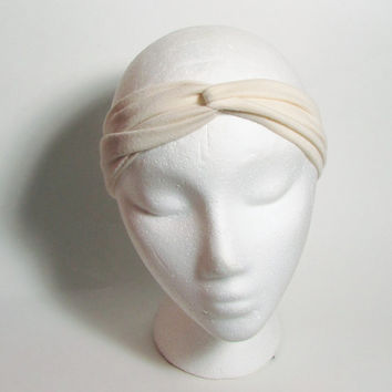 Narrow Jersey Turban Headband, Off White Head Band, Hair Wrap, Women Accessories, Hair Fashion, Turband Hair Band, Hairband, Knot Hair Wrap