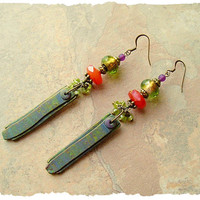Bohemian Earrings, Carnelian, Peridot and Polymer Clay Art Earrings, Long Dangle Earrings, Boho style Me, Kaye Kraus