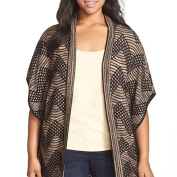 Plus Size Women's NIC+ZOE 'Chevron' Long Open Front Cardigan,