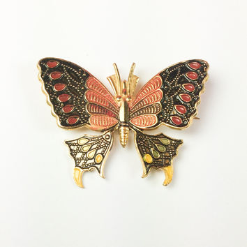 Enamel Butterfly Brooch, Red with Black, Spanish 1950s Vintage Jewelry