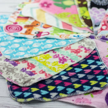 Cloth Wipes or Washcloths -Set of 50 Girl Wipes - Reusable, Eco-Friendly