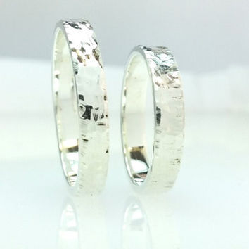 Sterling Silver Hammered Flat Wedding Band Rings Set 4mm His and Her