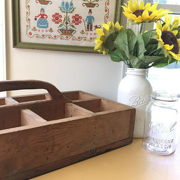 Large Carpenters Tool Box Caddy, Primitive Wood Box with Handle, Rustic Wooden Carryall Organizer, Rustic Divided Tote