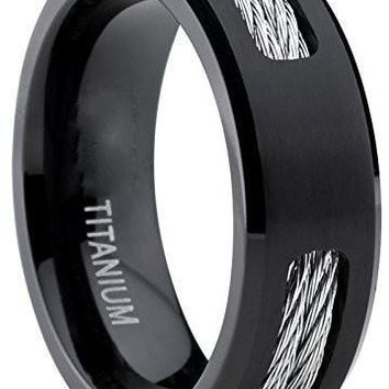 Black Titanium ring Wedding band with Stainless Steel Cables sizes 7 to 12