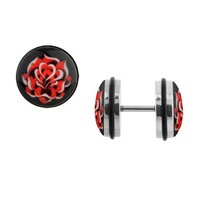 Body Accentz™ Earrings Rings Fake Rose Cheater Plug 16 gauge - Sold as a pair