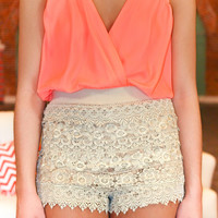 Must Be Love Romper - Neon Coral