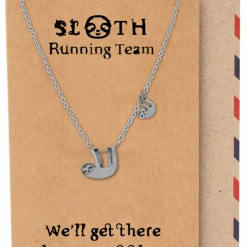 Abilene Two Hanging Sloth Pendant Necklace, Running Team Necklace, Gifts for Best Friend